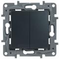 Legrand Etika Антрацит Переключатель 2-клавишный с подсветкой, 10А, авт. клем (672616)