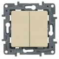 Legrand Etika Крем Выключатель 2-х клавишный, 10А, винт. клем. (672302)