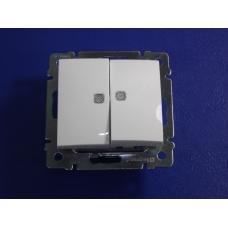 Legrand Valena Выключатель двухклавишный  белый с подсветкой